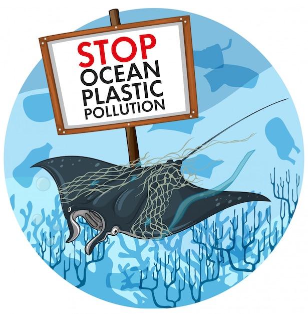 Posterontwerp met pijlstaartrog en plastic vervuilingsteken Gratis Vector