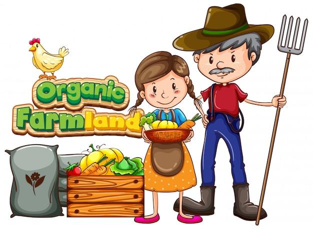Posterontwerp met woord biologische landbouwgrond en twee boeren Gratis Vector