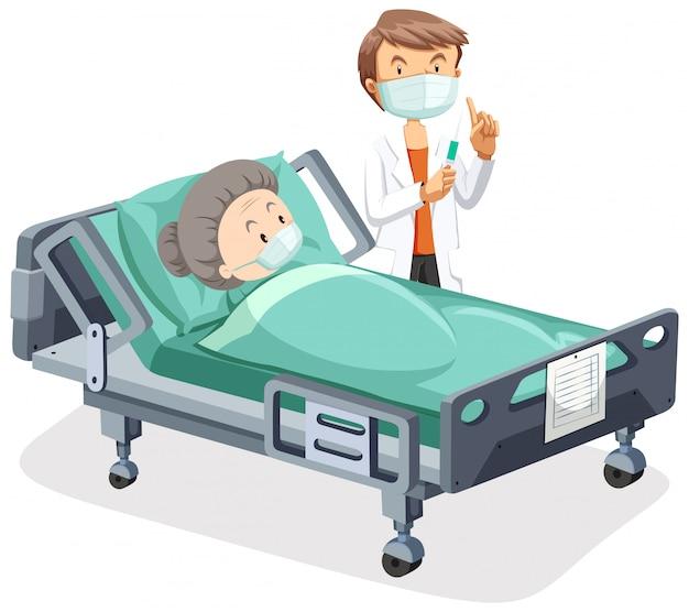 Posterontwerp voor coronavirus thema met oude vrouw ziek in bed Gratis Vector