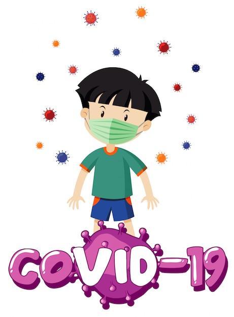 Posterontwerp voor coronavirusthema met jongen die masker draagt Gratis Vector