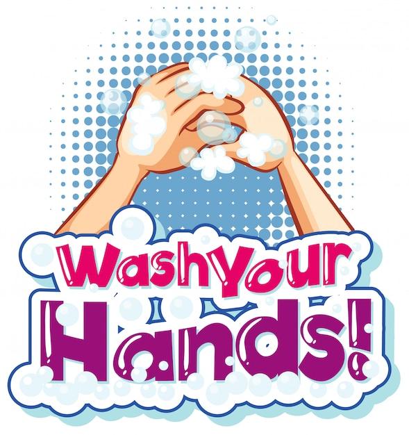 Posterontwerp voor coronavirusthema met woord handen wassen Gratis Vector