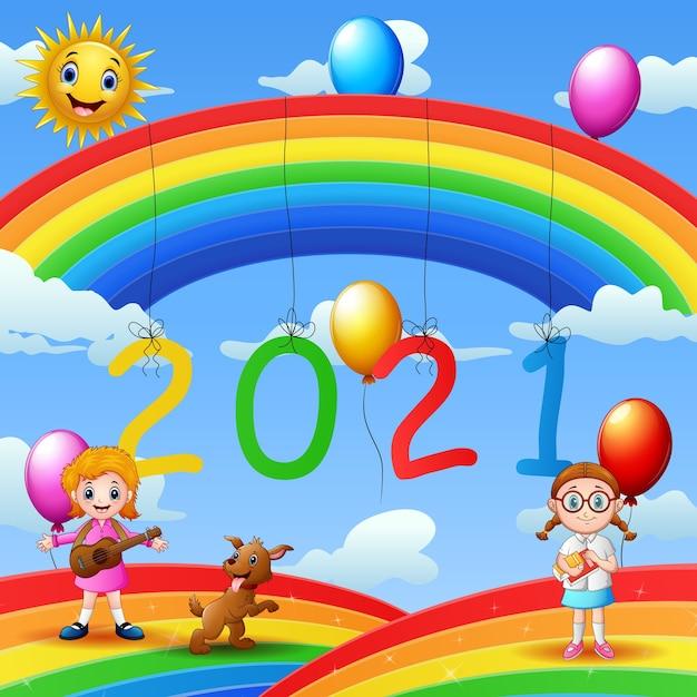 Posterontwerp voor de illustratie van het nieuwe jaar 2020 Premium Vector
