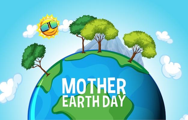 Posterontwerp voor moeder aarde dag met veel bomen op aarde Premium Vector