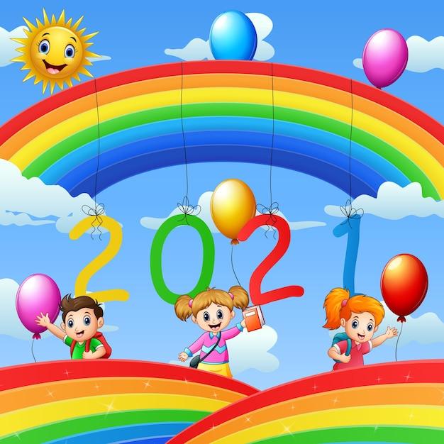 Posterontwerp voor nieuwjaar 2020 met gelukkige kinderen Premium Vector