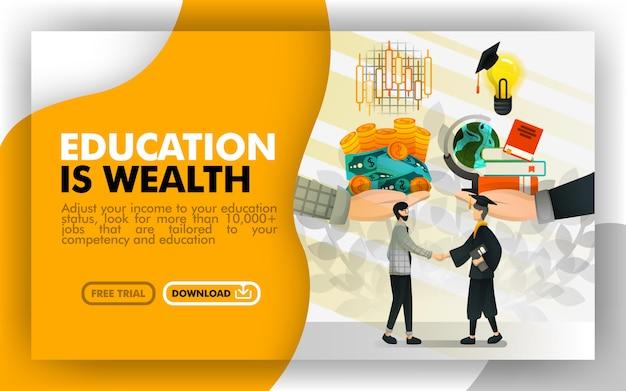 Posterpagina van onderwijs is rijkdom Premium Vector