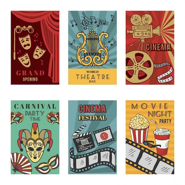 Posters-ontwerpset met theater- en bioscoopsymbolen. vectorillustraties isoleren Premium Vector