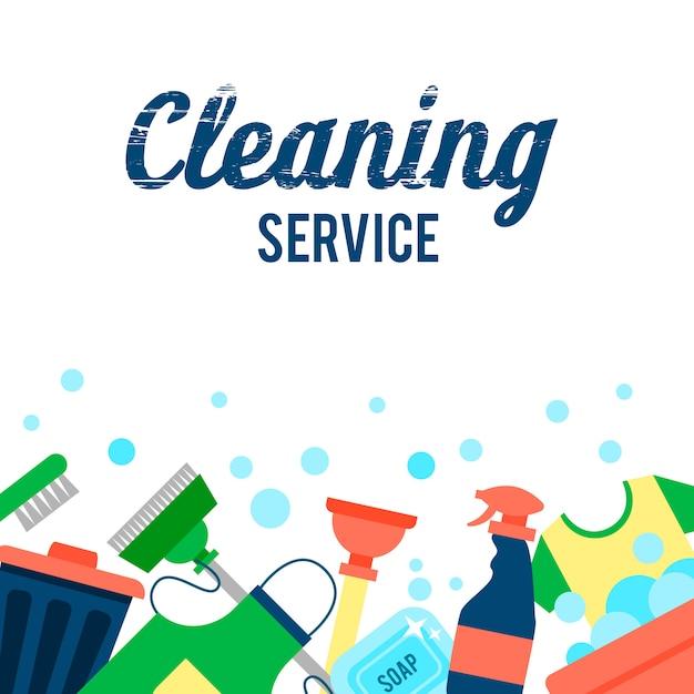 Postersjabloon voor schoonmaakdiensten met verschillende schoonmaakartikelen Gratis Vector