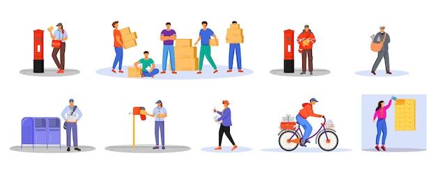 Postkantoor mannelijke werknemers en laders egale kleurenset. de mens ontvangt pakketten. post service levering. dozen en pakketten transport geïsoleerde cartoon Premium Vector