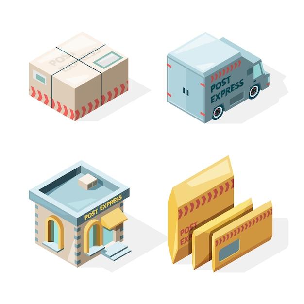 Postkantoor. post- en pakketbezorgdienst vrachtpostbus postbode werknemer isometrische afbeeldingen Premium Vector