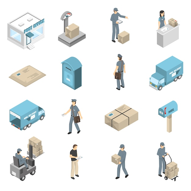 Postkantoor service isometrische pictogrammen instellen Gratis Vector
