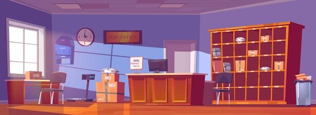 Postkantoor, service voor bezorging en opslag van post, pakketten, bestellingen en kranten. cartoon interieur van post met balie, kartonnen dozen en brieven op planken, brievenbus Gratis Vector
