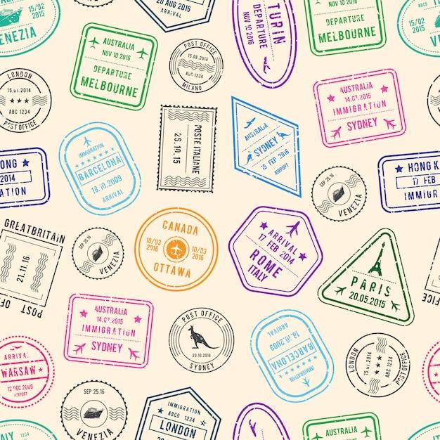 Postpatroon en immigratiezegels uit verschillende landen Premium Vector