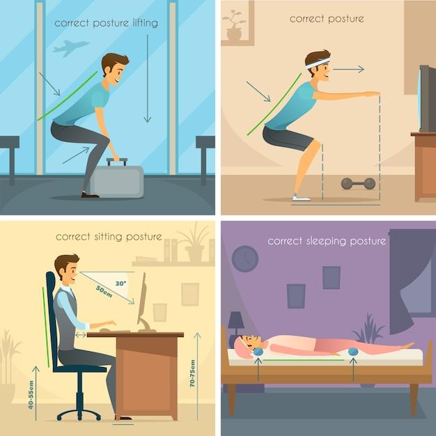 Posture 2x2 design concept Gratis Vector