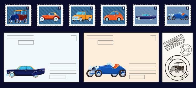 Postzegels collectie geïsoleerde set van illustraties. Premium Vector