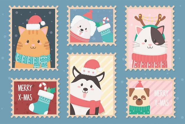 Postzegels happy christmas-collectie Premium Vector