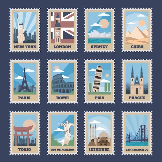 Postzegels reizen. vintage stempel met nationale monumenten, retro stempel poststempel wereldattracties en meest populaire punten van de wereld icon set. reiskaart met beroemde locaties Premium Vector