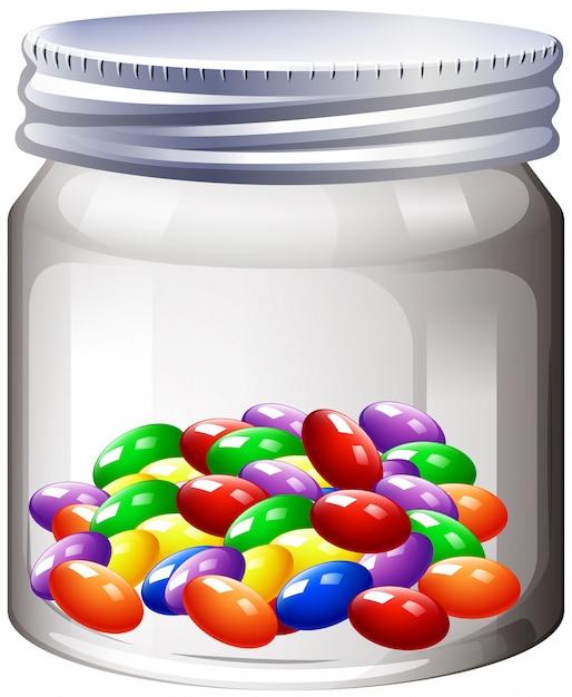 Pot met kleurrijke snoep Gratis Vector
