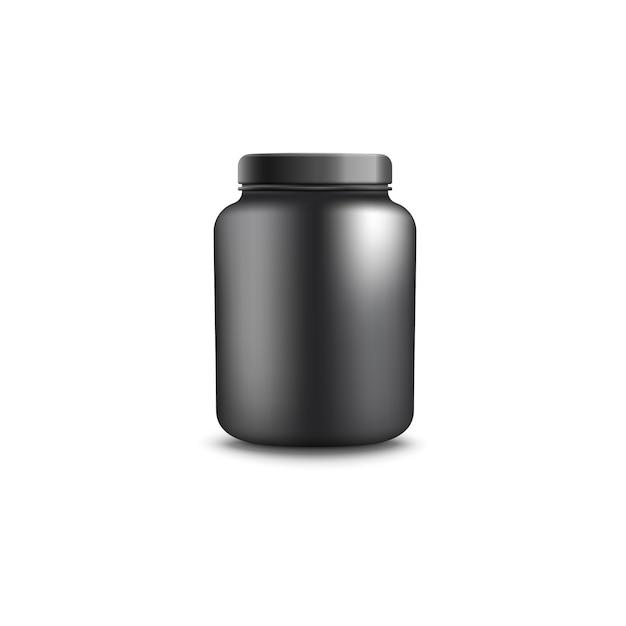 Pot of container voor realistische illustratie van eiwitten. Premium Vector