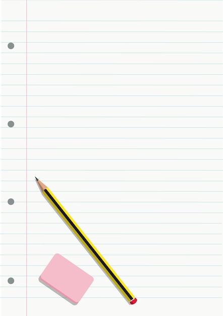 Potlood en gum op een notitieboekje gevoerd blad Premium Vector