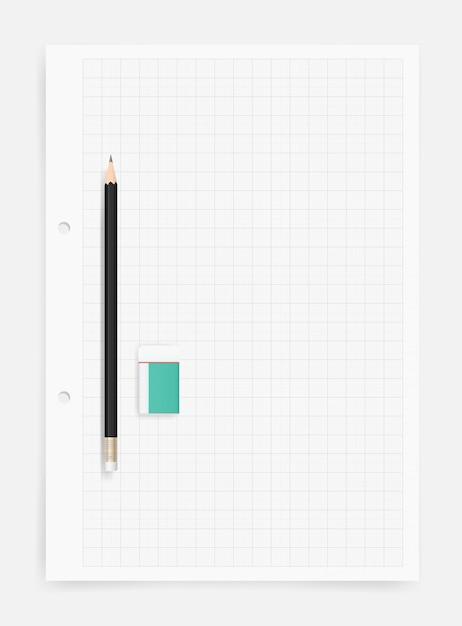 Potlood en gum op tekenpapier bladachtergrond. Premium Vector