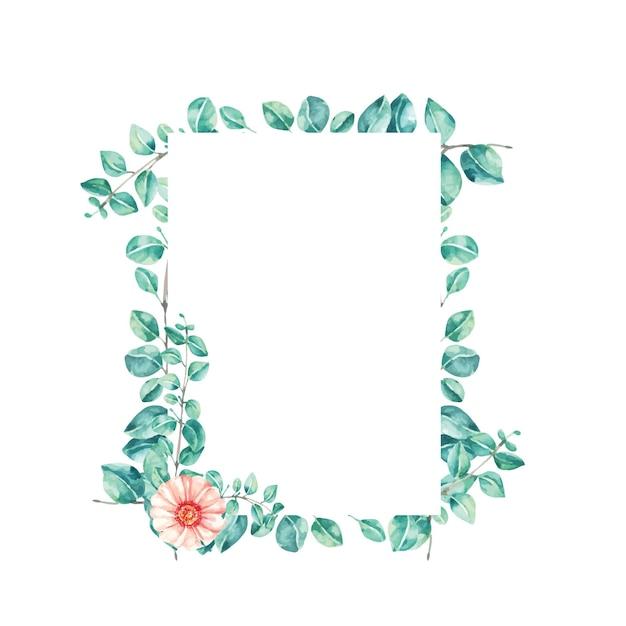 Potrait frame aquarel illustratie blad eucalyptus Premium Vector