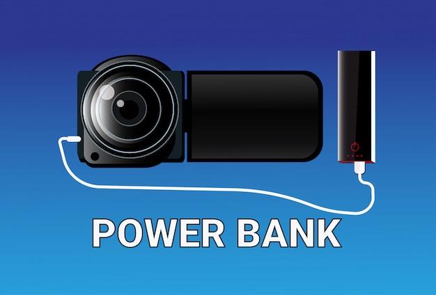 Power bank opladen camera draagbare oplader concept mobiele batterij apparaat Premium Vector