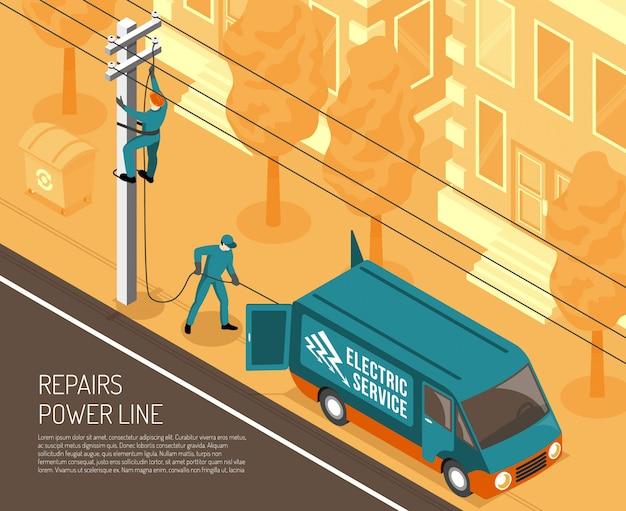 Power line reparatie achtergrond Gratis Vector