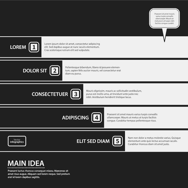 Powerpoint presentatie zwart-wit design Gratis Vector
