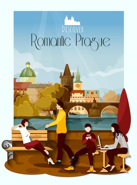 Praag poster illustratie Gratis Vector
