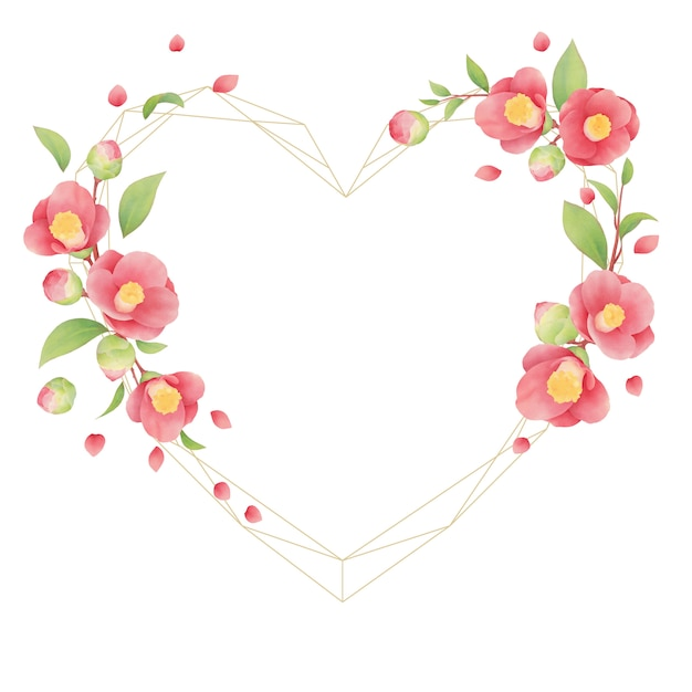 Prachtig bloemenframe met aquarel camellia bloemen Premium Vector