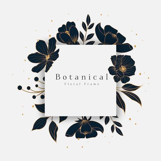 Prachtig botanisch bloemenframe Premium Vector