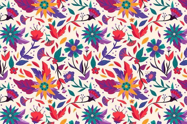 Prachtig exotisch bloemenpatroon geschilderd Gratis Vector