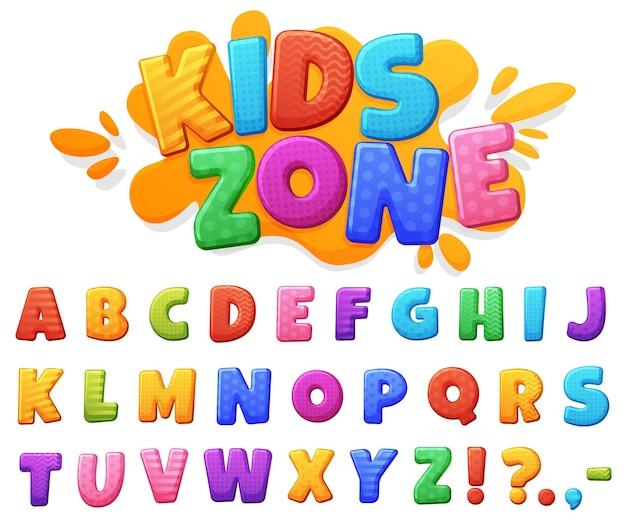 Prachtig gekleurd vrolijk kinderlettertype. mollige felgekleurde letters. Premium Vector