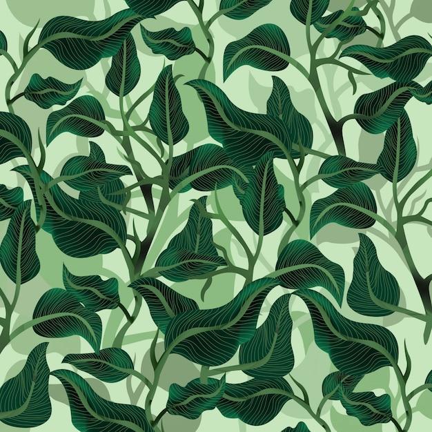 Prachtig groen bladtuinpatroon. Premium Vector