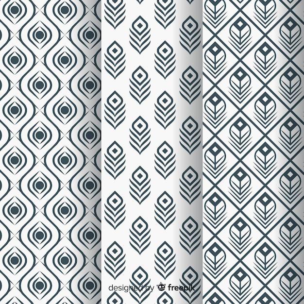 Prachtig pauwenveerpatroon met plat ontwerp Gratis Vector