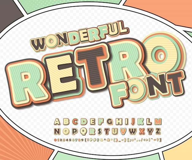 Prachtig retro komisch lettertype op stripboekpagina. grappig alfabet van letters en cijfers voor decoratie strips boekpagina Premium Vector