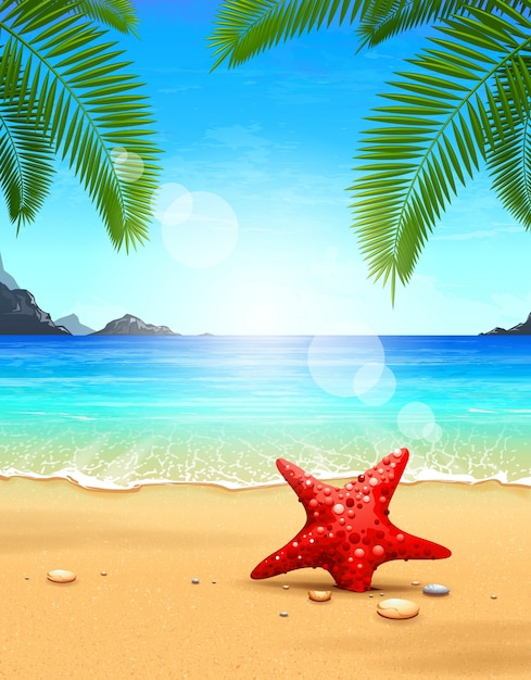 prachtig strandontwerp Gratis Vector