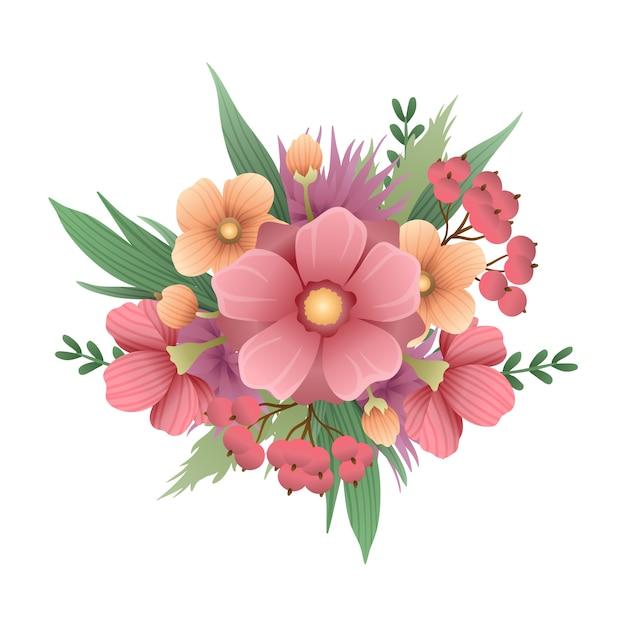 Prachtig vintage boeket bloemen Gratis Vector