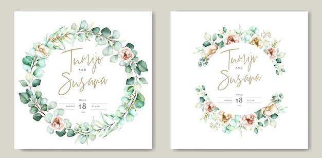 Prachtige aquarel bloemen bruiloft kaartsjabloon Gratis Vector