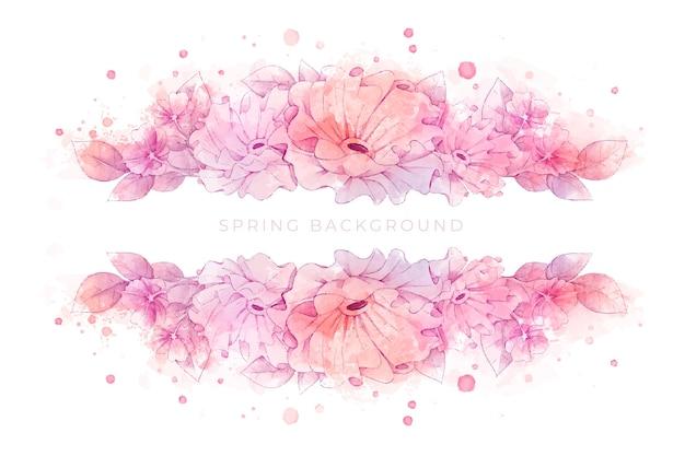 Prachtige aquarel lente achtergrond Gratis Vector
