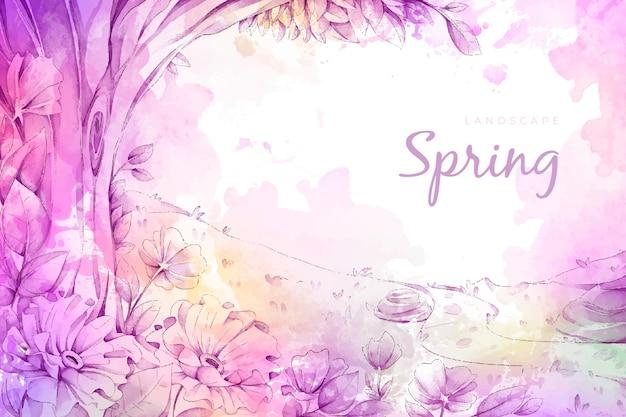 Prachtige aquarel lente landschap Gratis Vector