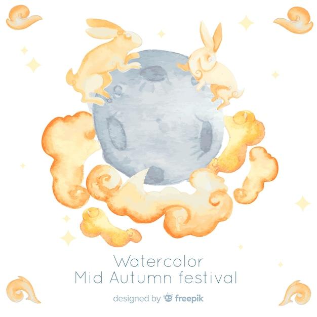 Prachtige aquarel medio herfst festival achtergrond Gratis Vector