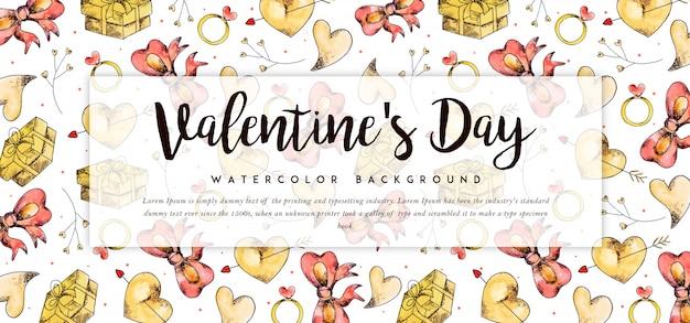 Prachtige aquarel valentine banner Premium Vector