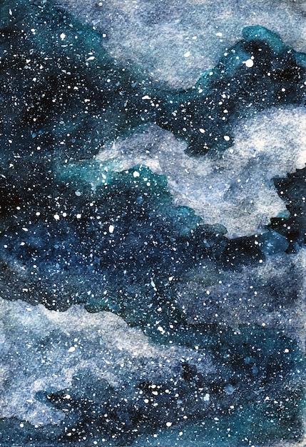 Prachtige aquarel winter nachtelijke hemel Premium Vector
