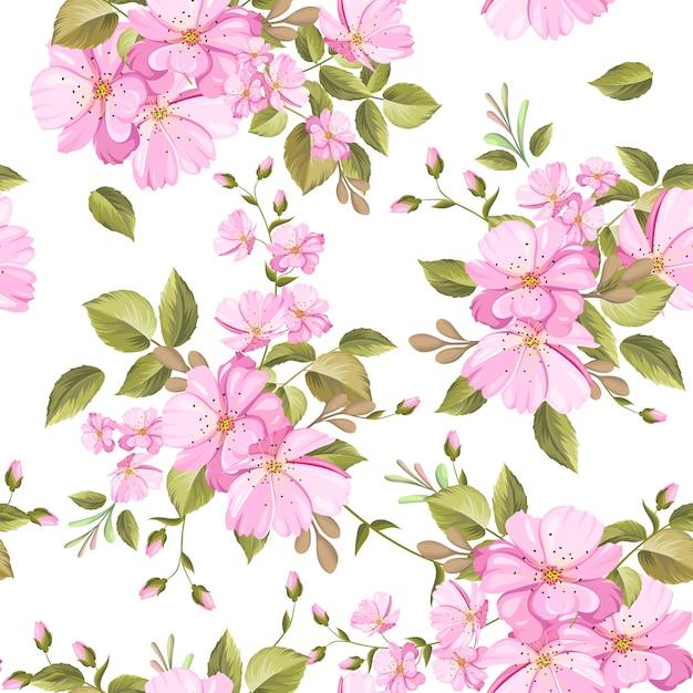 Prachtige bloemen en bladeren naadloze patroon Premium Vector
