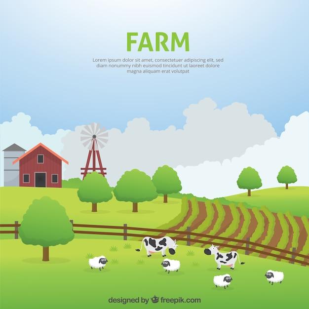Prachtige boerderij landschap met dieren Gratis Vector