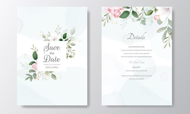 Prachtige bruiloft uitnodiging bloemen aquarel en groene bladeren Premium Vector