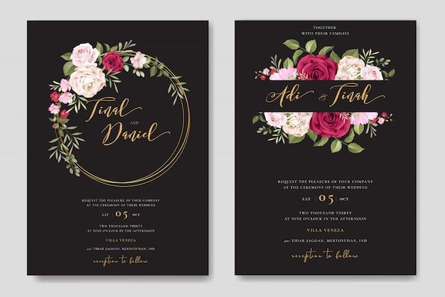 Prachtige bruiloft uitnodigingskaart met bloemen frame sjabloon Premium Vector