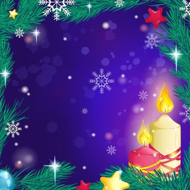Prachtige decoratieve brandende kaarsen achtergrond, een frame van dennentakken, sneeuwvlokken en sterren. Premium Vector