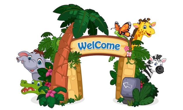 Prachtige dierentuin ingang illustratie Gratis Vector